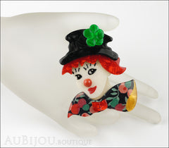 Lea Stein Petruschka Clown Brooch Pin Floral Red Green 1 Mannequin