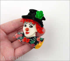 Lea Stein Petruschka Clown Brooch Pin Floral Red Green 1 Model