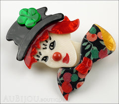 Lea Stein Petruschka Clown Brooch Pin Floral Red Green 1 Side