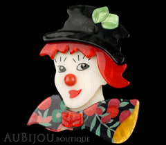Lea Stein Petruschka Clown Brooch Pin Floral Red Green 2 Black