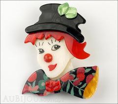 Lea Stein Petruschka Clown Brooch Pin Floral Red Green 2 Front
