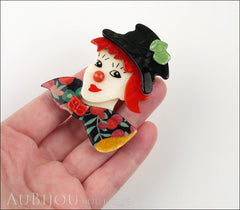 Lea Stein Petruschka Clown Brooch Pin Floral Red Green 2 Model