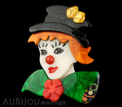 Lea Stein Petruschka Clown Brooch Pin Green Orange Yellow Red Black