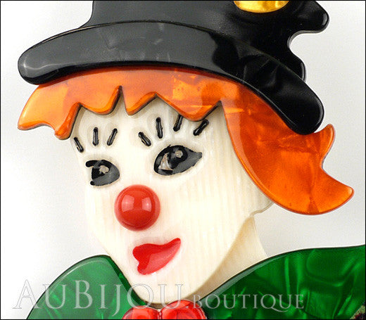 Lea Stein Petruschka Clown Brooch Pin Green Orange Yellow Red Gallery