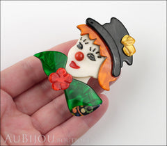 Lea Stein Petruschka Clown Brooch Pin Green Orange Yellow Red Model