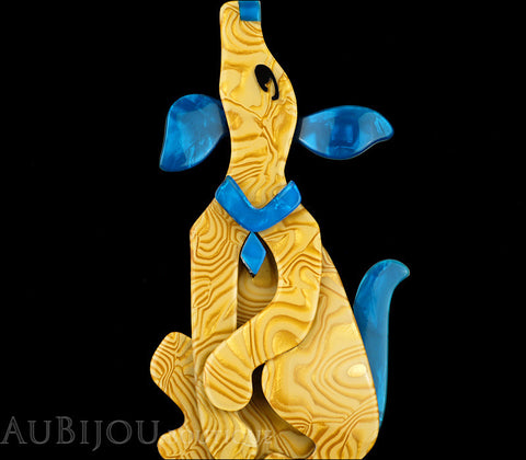 Lea Stein Pouf Howling Dog Brooch Pin Yellow Swirls Blue