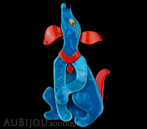Lea Stein Pouf Howling Dog Dog Brooch Pin Soft Blue Red Gallery