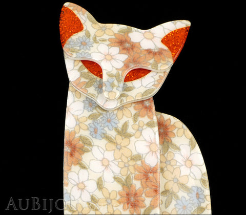 Lea Stein Quarrelsome Cat Brooch Pin Beige Floral Red Gallery