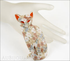 Lea Stein Quarrelsome Cat Brooch Pin Beige Floral Red Mannequin