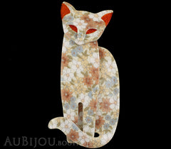 Lea Stein Quarrelsome Cat Brooch Pin Beige Floral Red