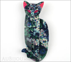 Lea Stein Quarrelsome Cat Brooch Pin Blue Floral Red Front