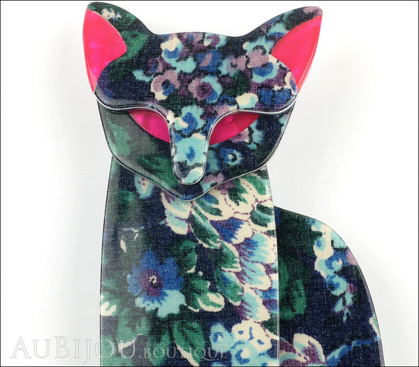 Lea Stein Quarrelsome Cat Brooch Pin Blue Floral Red Gallery