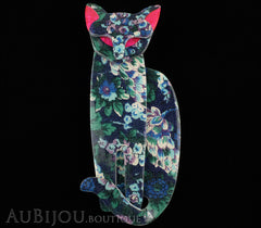 Lea Stein Quarrelsome Cat Brooch Pin Blue Floral Red