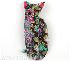 Lea Stein Quarrelsome Cat Brooch Pin Bright Floral Front