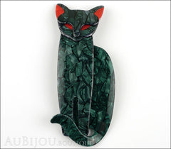 Lea Stein Quarrelsome Cat Brooch Pin Dark Green Red Front