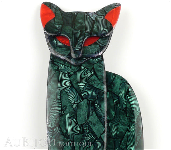 Lea Stein Quarrelsome Cat Brooch Pin Dark Green Red Gallery