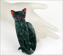 Lea Stein Quarrelsome Cat Brooch Pin Dark Green Red Mannequin