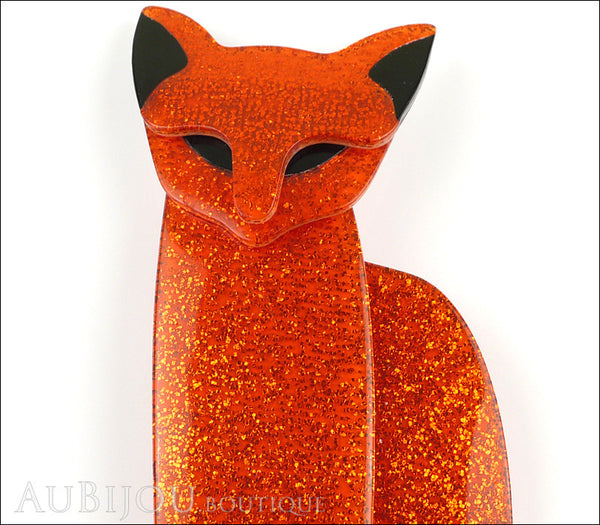 Lea Stein Quarrelsome Cat Brooch Pin Sparkly Orange Black Gallery