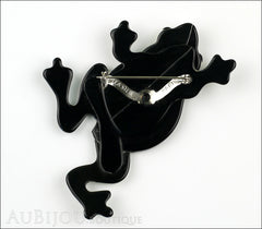 Lea Stein Rhana The Leaping Frog Brooch Pin Black Grey Back