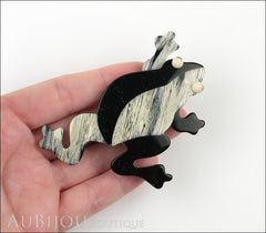 Lea Stein Rhana The Leaping Frog Brooch Pin Black Grey Model