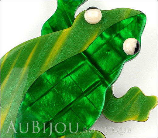Lea Stein Rhana The Leaping Frog Brooch Pin Green 2 Gallery
