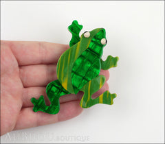 Lea Stein Rhana The Leaping Frog Brooch Pin Green 2 Model