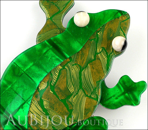 Lea Stein Rhana The Leaping Frog Green Brooch Pin Green 3 Gallery