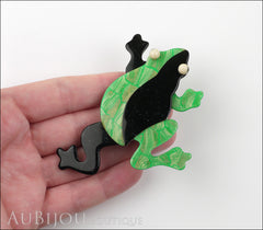 Lea Stein Rhana The Leaping Frog Green Brooch Pin Green Black Model