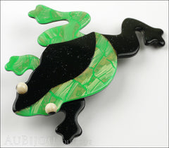 Lea Stein Rhana The Leaping Frog Green Brooch Pin Green Black Side Two