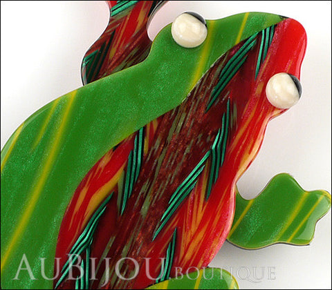 Lea Stein Rhana The Leaping Frog Green Brooch Pin Green Red Gallery