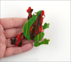 Lea Stein Rhana The Leaping Frog Green Brooch Pin Green Red Model