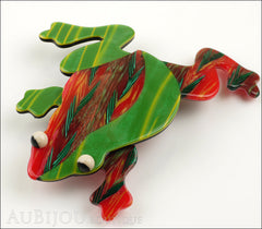 Lea Stein Rhana The Leaping Frog Green Brooch Pin Green Red Side