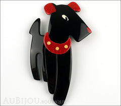 Lea Stein Ric The Airedale Terrier Dog Brooch Pin Black Red Front