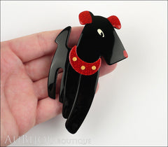 Lea Stein Ric The Airedale Terrier Dog Brooch Pin Black Red Model
