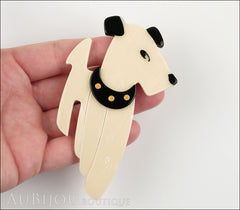 Lea Stein Ric The Airedale Terrier Dog Brooch Pin Cream Black Model