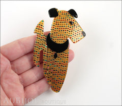 Lea Stein Ric The Airedale Terrier Dog Brooch Pin Golden Yellow Multicolor Dots 2 Model