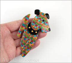 Lea Stein Ric The Airedale Terrier Dog Brooch Pin Multicolor Mosaic Model