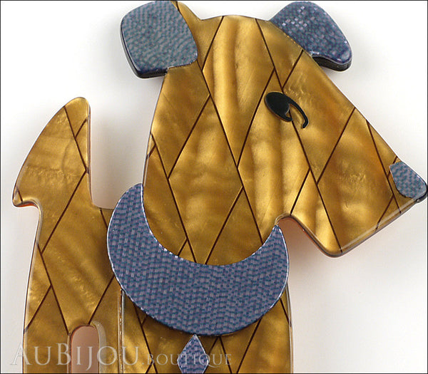 Lea Stein Ric The Airedale Terrier Dog Brooch Pin Mustard Green Blue Gallery