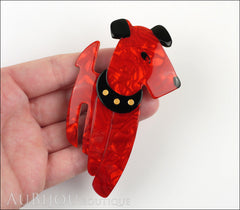 Lea Stein Ric The Airedale Terrier Dog Brooch Pin Red Black Dotted Collar Model