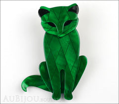 Lea Stein Sacha The Cat Brooch Pin Green Diamond Black Front