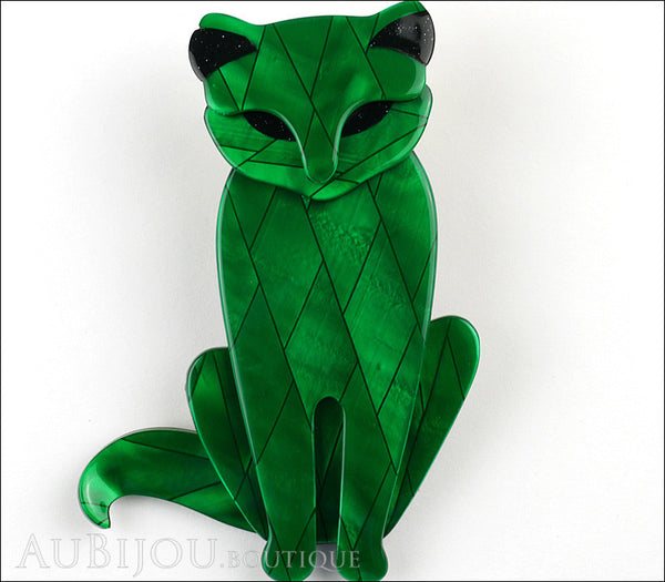 Lea Stein Sacha The Cat Brooch Pin Green Diamond Black Gallery