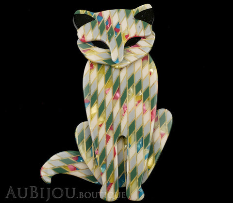 Lea Stein Sacha The Cat Brooch Pin Green Harlequin Black Gallery