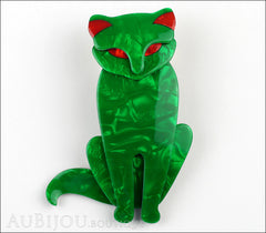 Lea Stein Sacha The Cat Brooch Pin Green Swirls Red Front