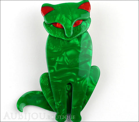 Lea Stein Sacha The Cat Brooch Pin Green Swirls Red Gallery