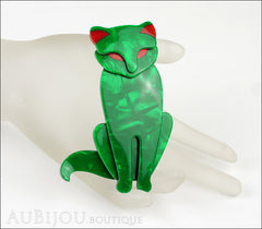 Lea Stein Sacha The Cat Brooch Pin Green Swirls Red Mannequin
