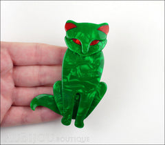 Lea Stein Sacha The Cat Brooch Pin Green Swirls Red Model
