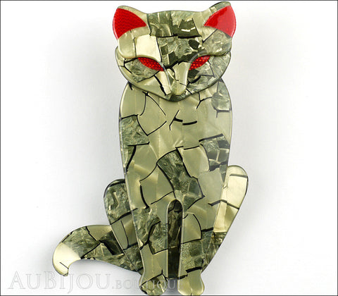 Lea Stein Sacha The Cat Brooch Pin Metallic Green Red Gallery