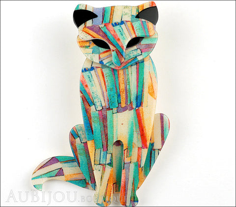 Lea Stein Sacha The Cat Brooch Pin Multicolor Abstract Black Gallery