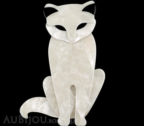 Lea Stein Sacha The Cat Brooch Pin Pearly White Black Gallery