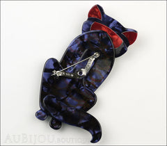 Lea Stein Sacha The Cat Brooch Pin Silver Grey Red Back